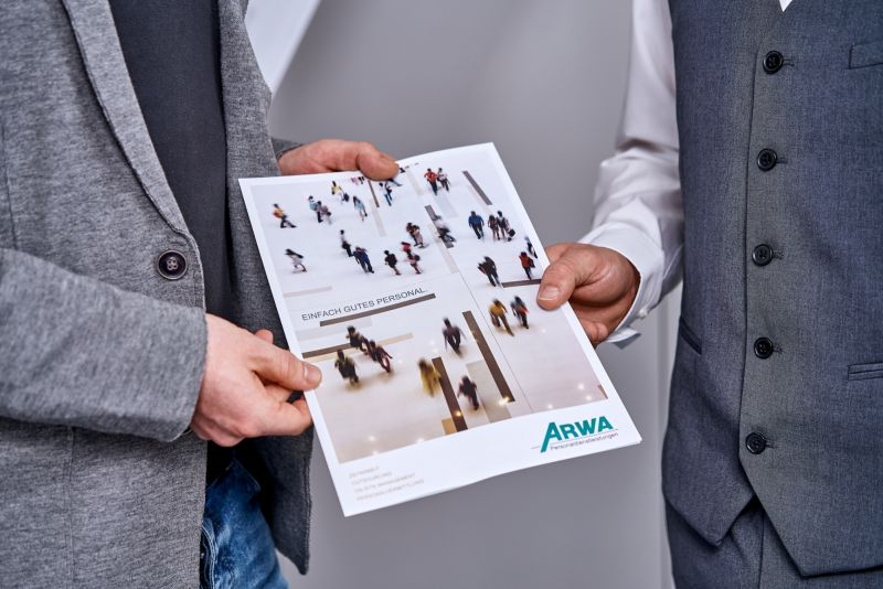 Here you see an ARWA Personaldienstleistungen GmbH flyer
